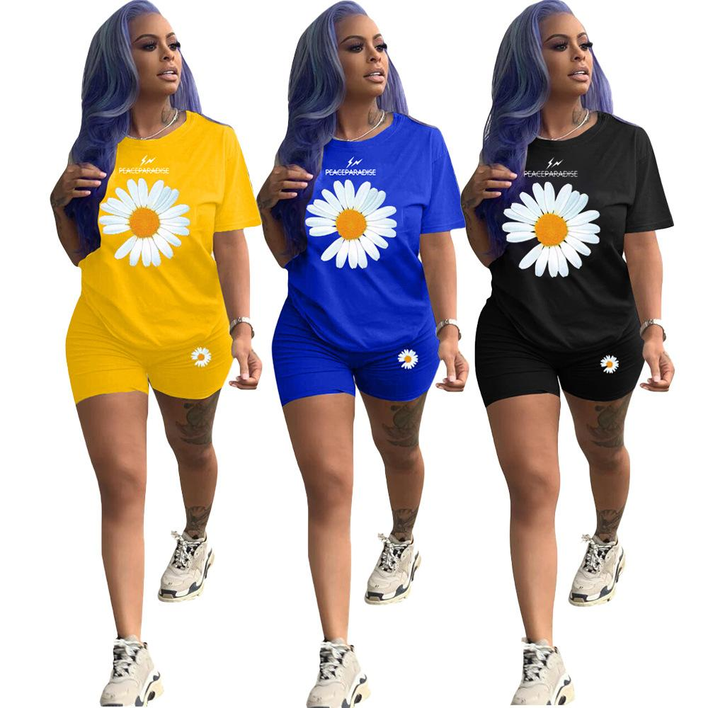 designer women clothes two piece outfits set daisy printed 2020 fashion womens home clothing set short sleeve t shirt and shorts tracksuit