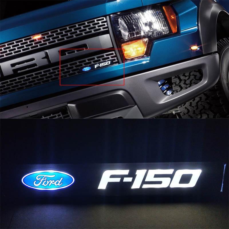 Ford F150 F150 Car Emblem anteriore del cappuccio griglia della griglia del cofano DRL Logo Led luce del distintivo