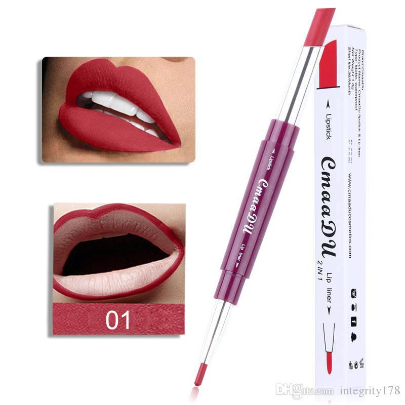 cmaadu Matte Lipstick + Lip Pencils Double-end Sexy 6 Color 2in1 Waterproof Pigments Nude Lip Liner Lipstick Makeup Pen