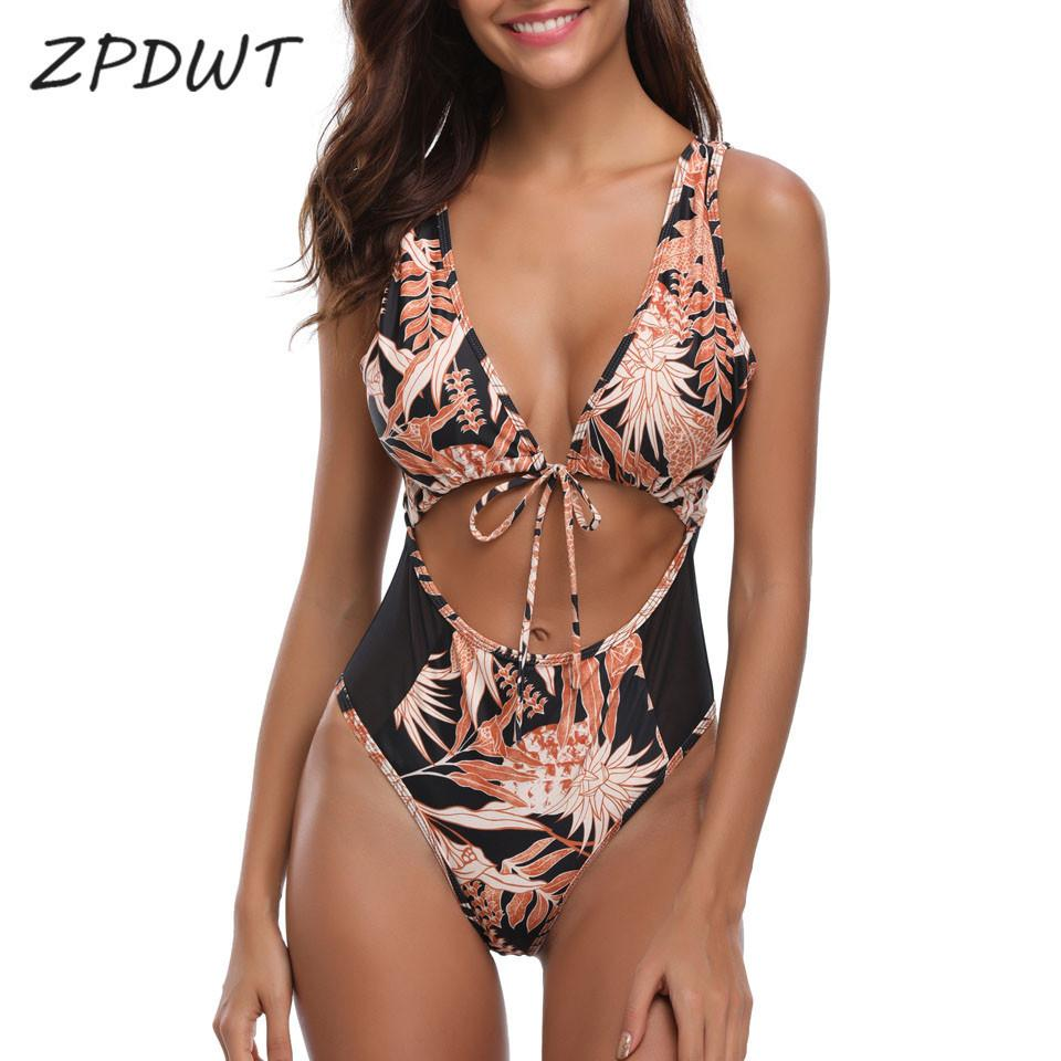 Zpdwt Bathing Suit Mesh Swimwear Woman One Piece Swimsuit Swim Beach Wear Tropical Monokini Patchwork Swimming Costumes Bather Y19072601