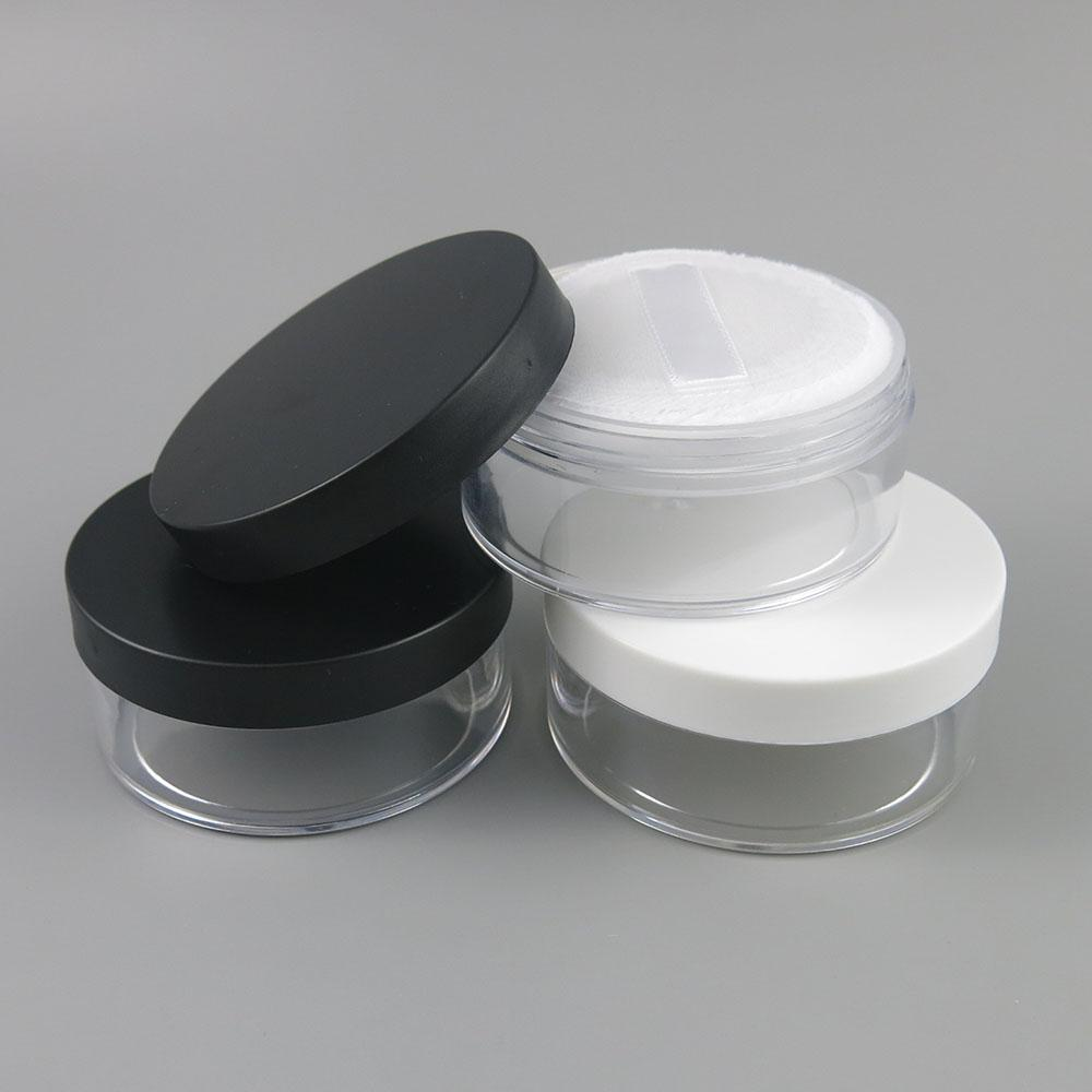10 x 50g Plastic Clear Reusable Empty Loose Powder Box Makeup Cosmetic Container Cosmetic Jars With Black/White Cap