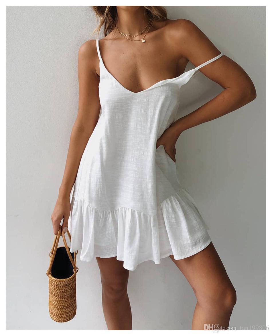 2019 robe de coton été lâche, sexy robe blanche dos nu à volants V-cou, dames robe décontractée