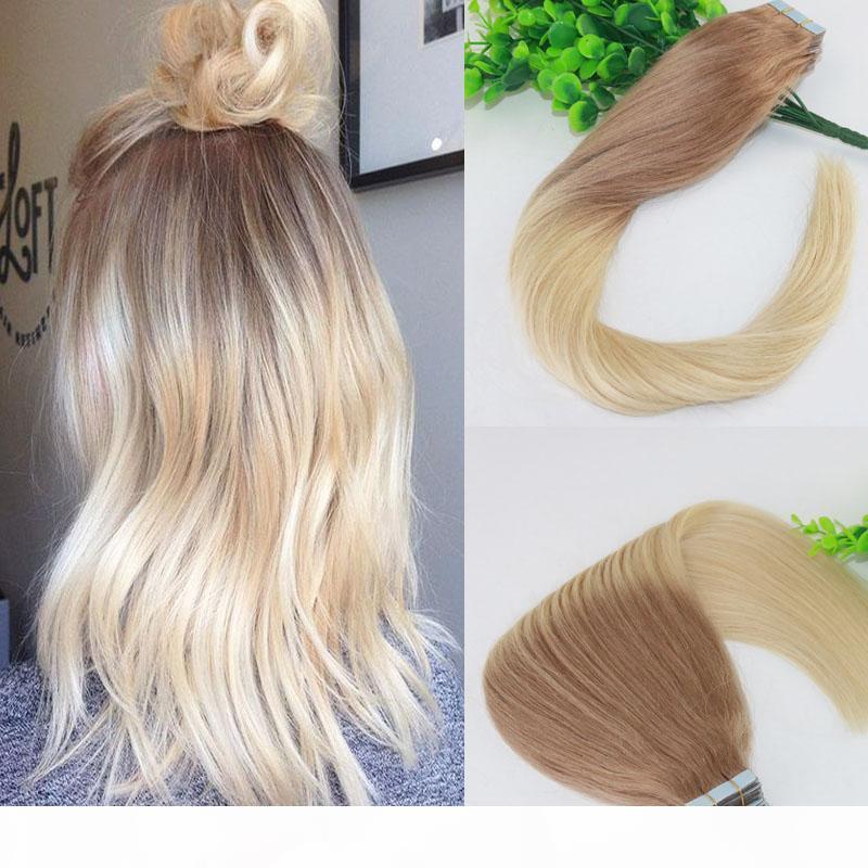 Tape Two Tone em extensões de cabelo humano # 18 # 613 Ombre loira de pele Cabelo Virgem Seamless brasileira Humano 40pcs trama Slik Straight100g