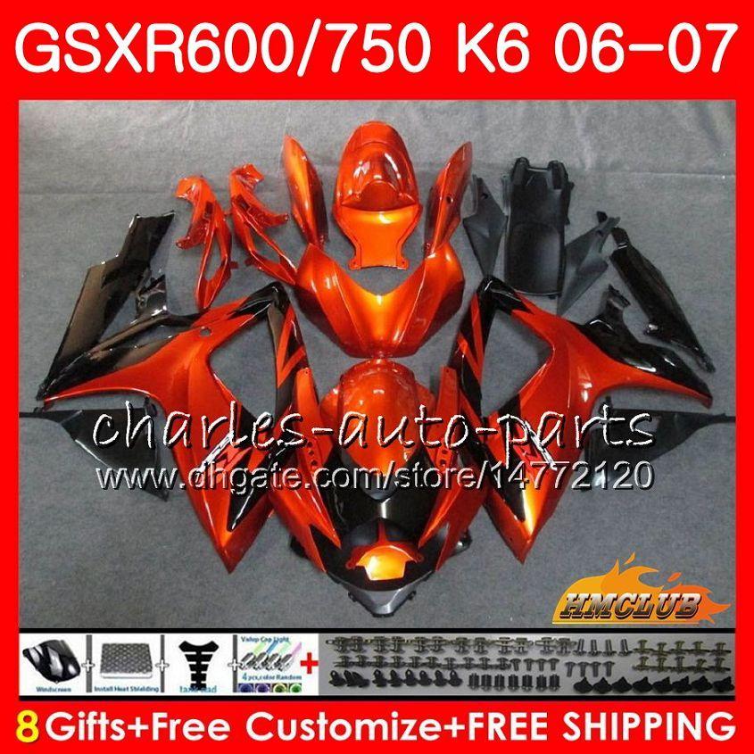 Suzuki GSX R600 GSX R750 GSXR600 2006 2007 8HC.20 GSX-R600 GSXR-750 K6 GSXR 600 750 06-07 GSXR750 06 07ライトオレンジフェアリングキット