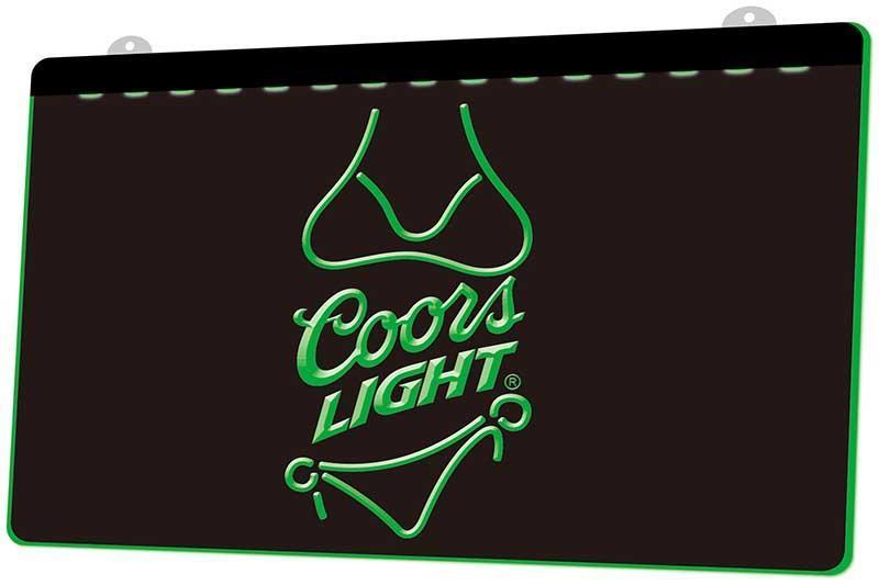 Ls0105 Coors Light Beer Bikini Bar Pub Rgb Multiple Color Remote Control 3d Engraving Led Neon Light Sign Shop Bar Pub Club