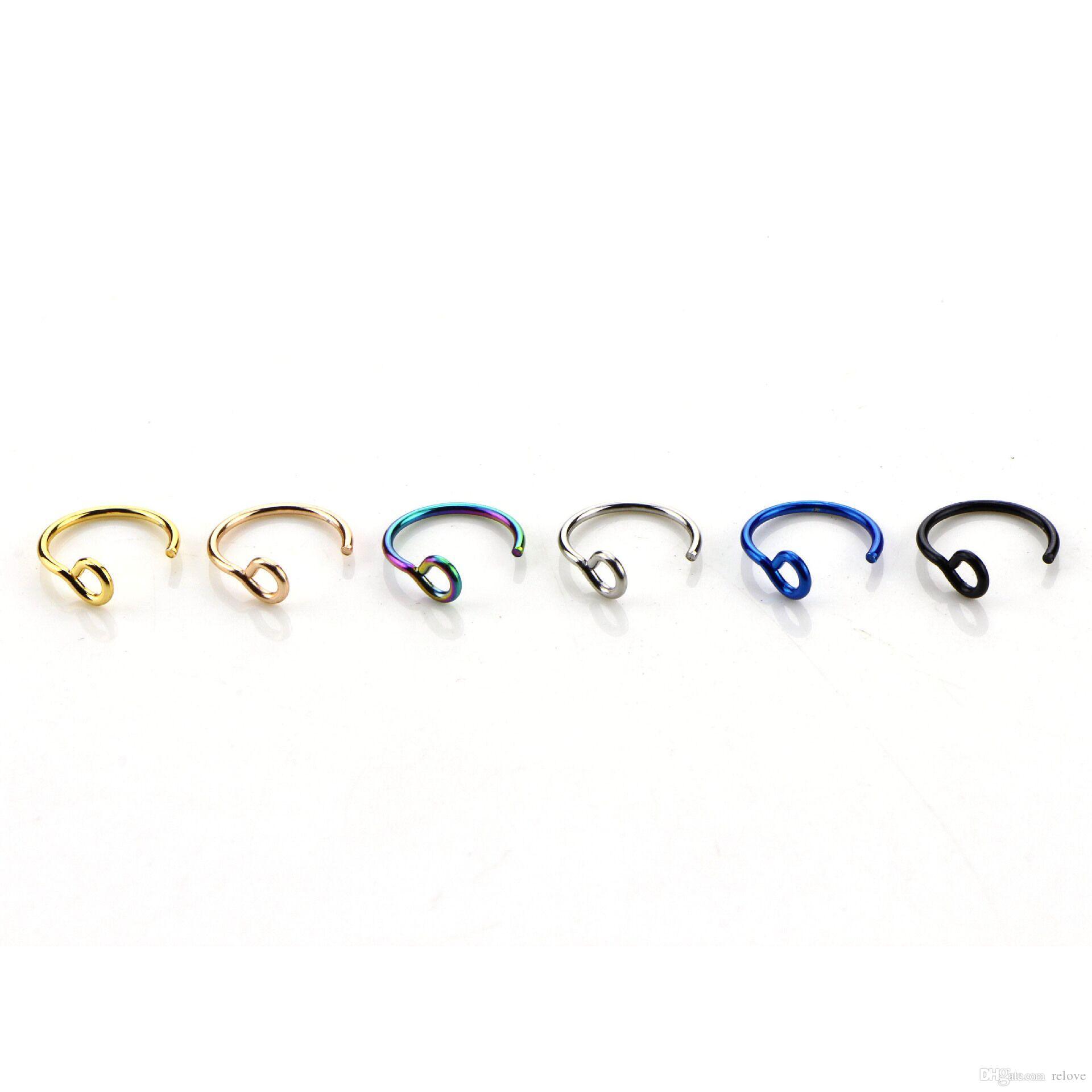 Boby Nose Fake Piercing Rings Stud Punk False Earrings Nipple Ring Septum Factory Wholesale