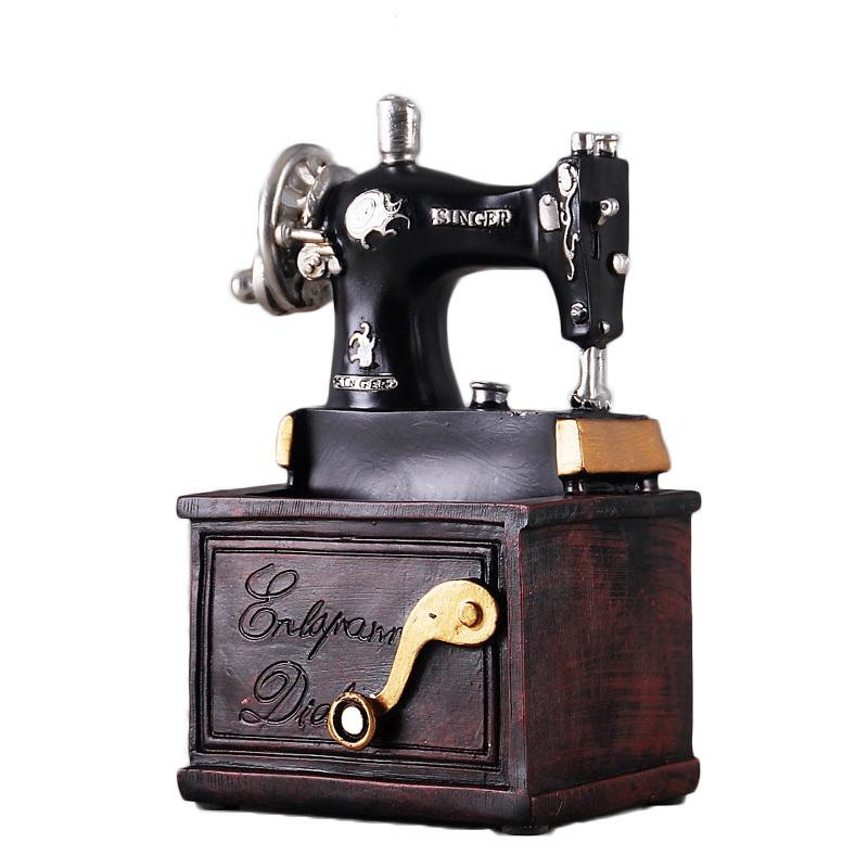 Vintage Resin Sewing Machine Pen Holder Ornaments Figurine Retro Crafts Old Furniture Sewing Machine Miniature Home Decor Gifts J190713