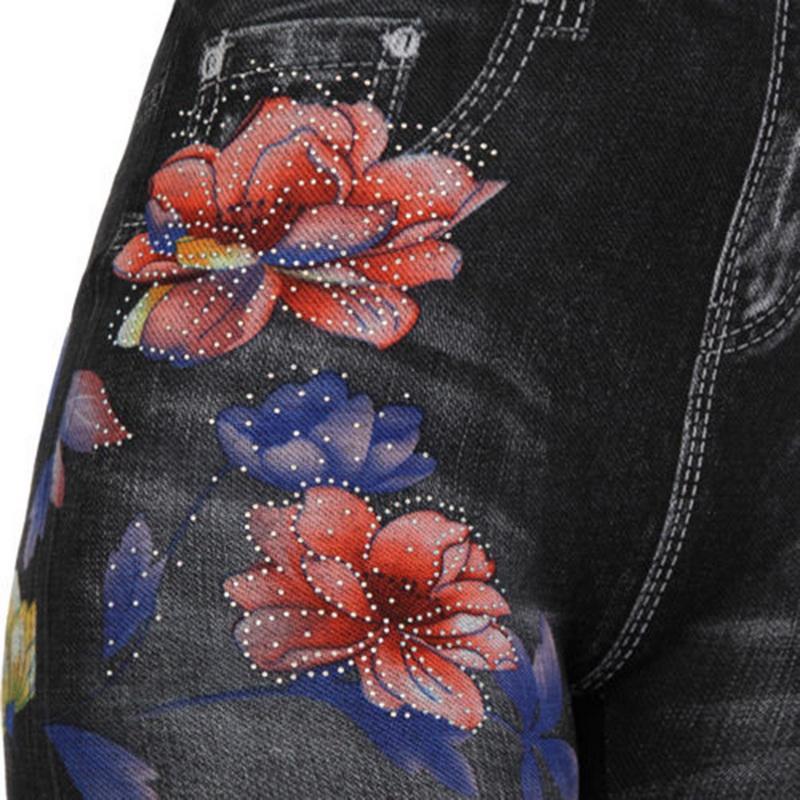 2019 Новый высокой талией джинсы леггинсы Женщины Этнические цветочные Printed высокой талией Rose Версия для печати Карандаш Брюки Повседневный поножи