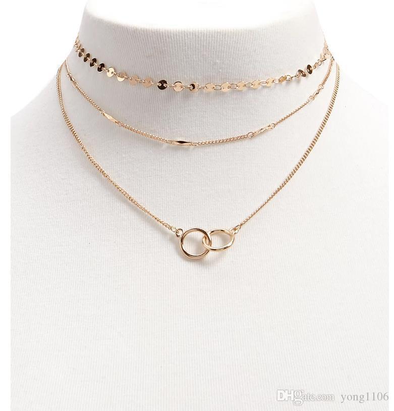 Tendencia de moda europea y americana accesorios de personalidad Street pat popular Collar de discos combinación de múltiples capas joyería de cadena de clavícula