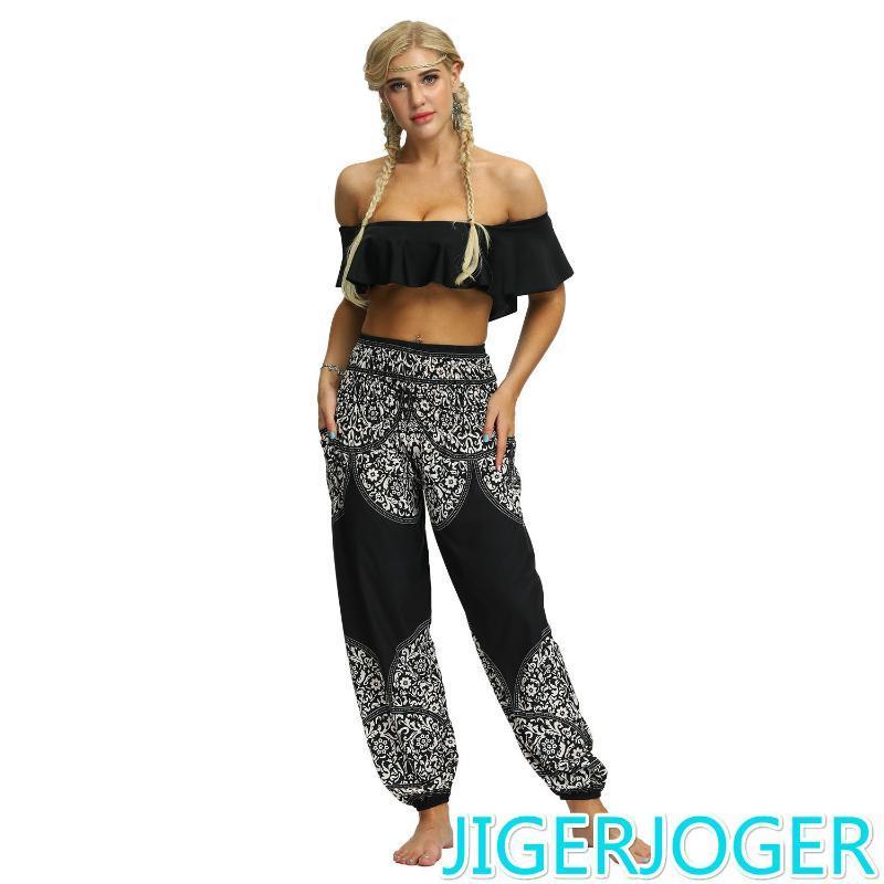 JIGERJOGER blusa Harem pant calças harem de Digital Impresso Loose Women pernas boho mulheres da praia do estilo thai Calças de cintura alta