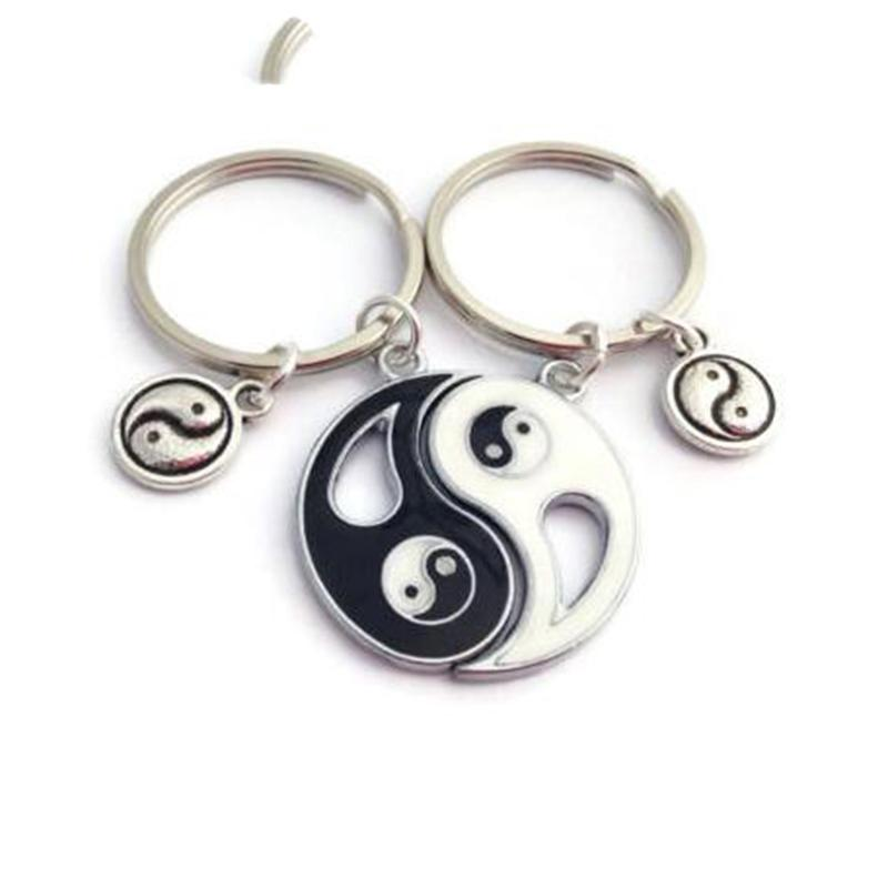 Vintage Silver Best Friends Ying Yang Couple Keychain Heart Shape Handcuffs Key Chain For Keys Ca Key Ring Handbag Key Chains