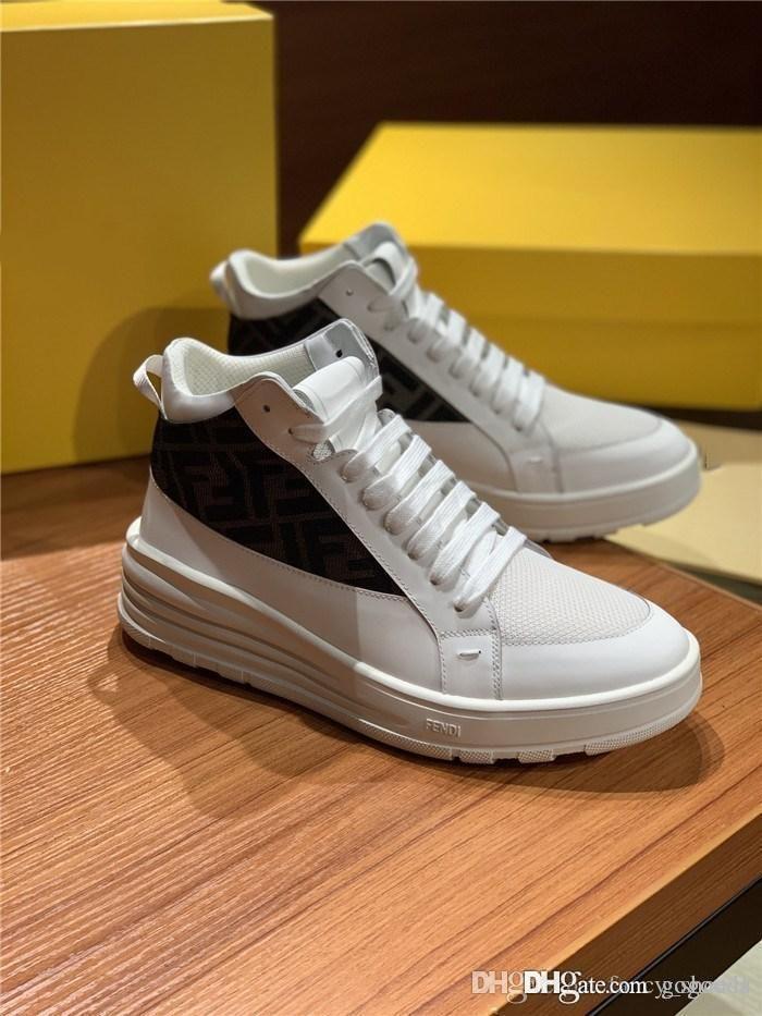 Klassische die Buchstaben Spitzen-up beiläufige Schuhe, Männer Leder Turnschuhe mit dicken Sohlen, Trends High-Top Sneaker Höhe Zunehmende