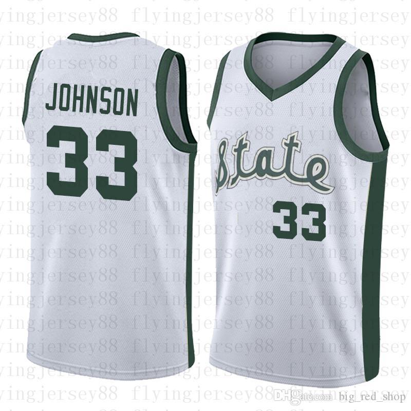 NCAA 미시간 주립 스파르타 인 # 33 Earvin Johnson Magic Green White College 33 래리 버드 고등학교 농구 저지 스티치 셔츠