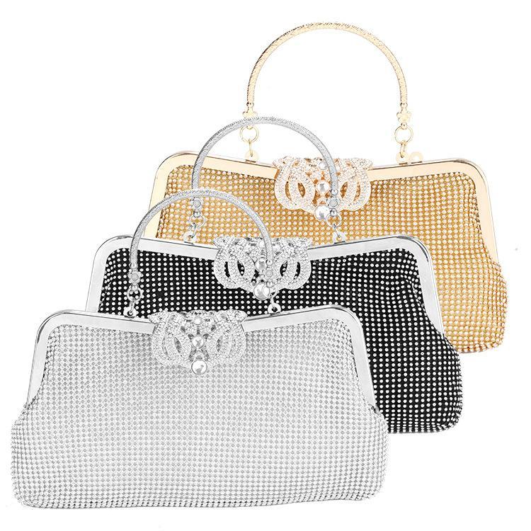 Frauen Weinlese-Kronen-Abend-Handtasche-Partei-Hochzeit LuxuxRhinestone Abend Platz Beutel Art und Weise elegante Handtaschen