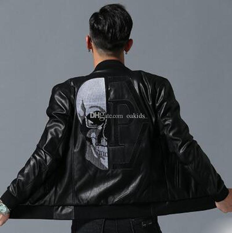 2020 الموضة الجديدة صول آخر مصمم أسود دثار رجل جان جلد الجمجمة الستر الملابس رسالة مطبوعة الرجال معاطف الشتاء فاخر