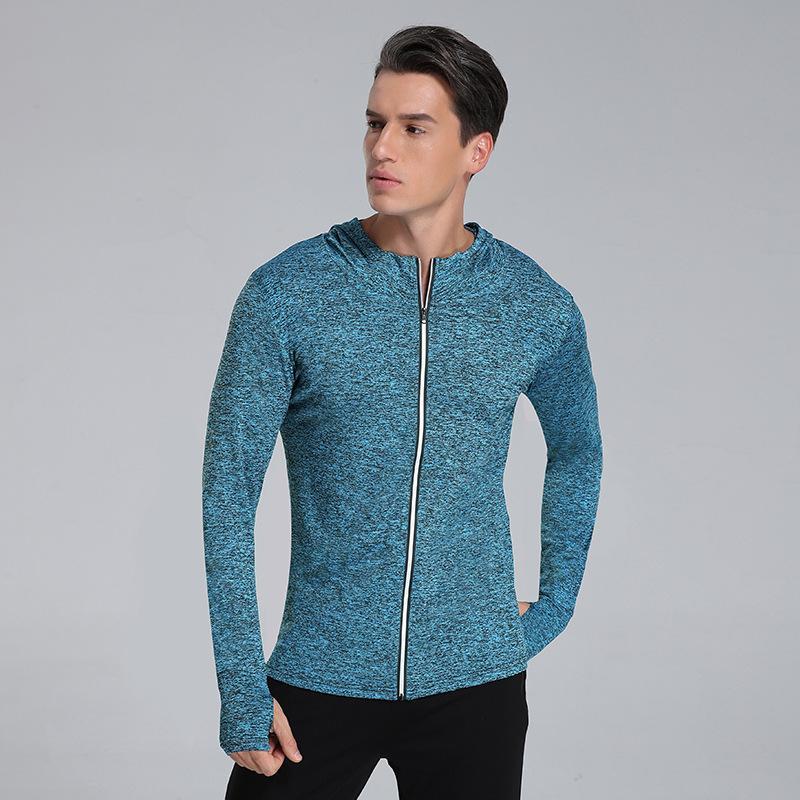 Nouveau style mince solide rapide Veste à sec Collants d'entraînement respirant Vêtements de running Fermeture à glissière réfléchissant pour hommes Hauts à manches longues