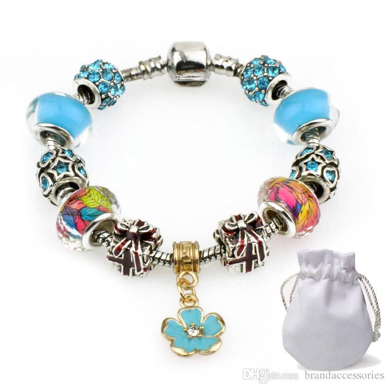 Low Price Silver Bracelets Fit Pandora Women Green Murano Glass Crystal Beads Bracelets Flower Style Pendant Bangle Jewelry Party Gift P72