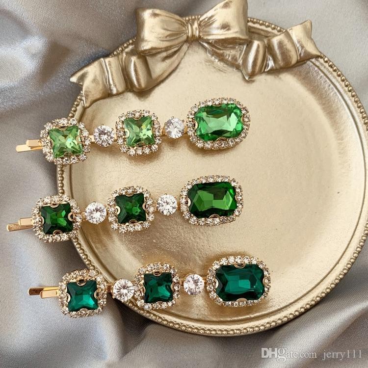 3 colors Korea Vintage Emerald hair pins Geometrical Rhinestones hair clip For Women Girls hair accessories Barrette Wholesale JJ173