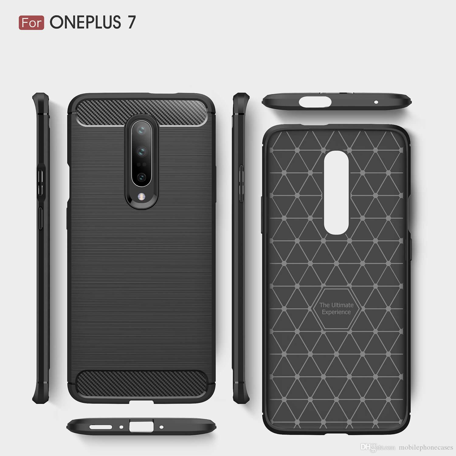 Free DHL 2019 Designer Case For OnePlus7 Carbon Fiber Soft Armor shockproof back cover for 1+7 Case utral slim cover