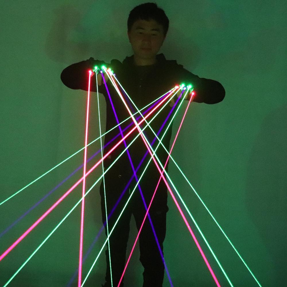 Guanti RGB laser di trasporto con il laser 7pcs 3pc verde + 2PCS Rosso + 2PCS Viola Blu fase guanti per DJ Club Party l'esposizione