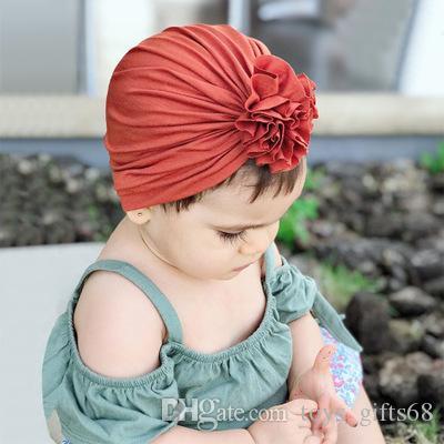 2019 ins Primavera e verão Novo Children's Plissed Flor Chapéu Recém-nascido Bebê Algodão Indiano Headgear # TY3