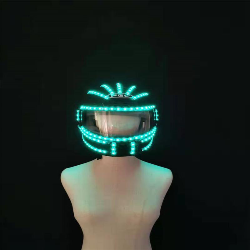 P97 Perform robot men suit RGB colorful led light helmet stage dance luminous led costumes party glowing props remote control headwear mask