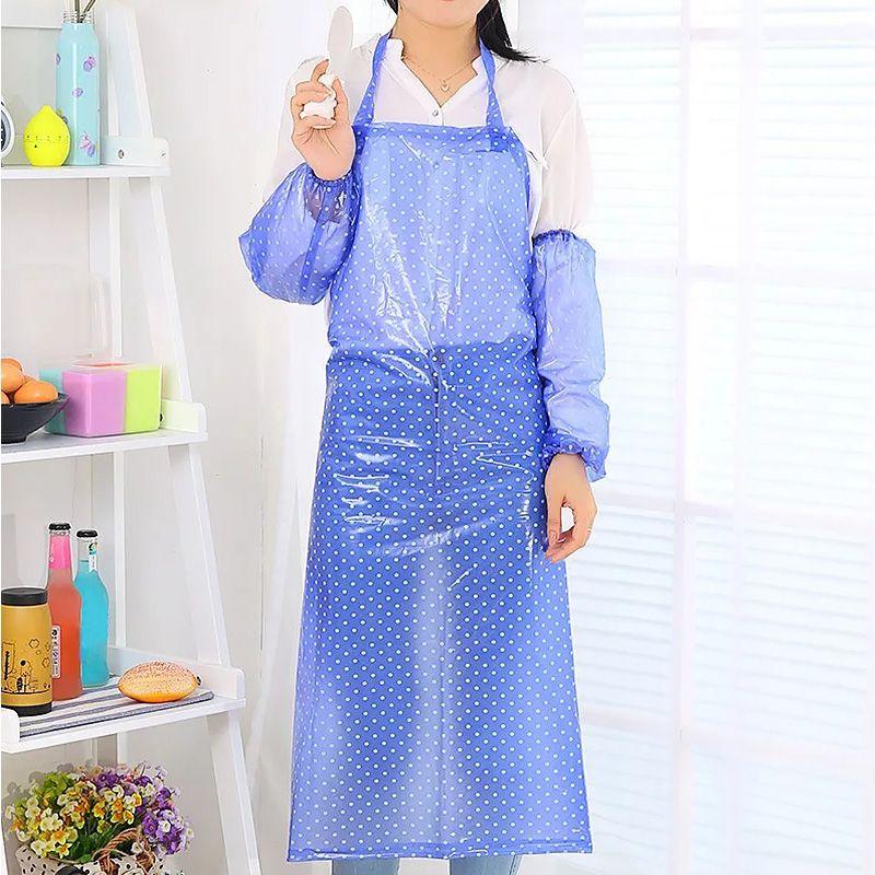 Водонепроницаемый ПВХ Фартук водонепроницаемый рукавов Cooking кухни шеф-официанта Длинные Стиль кухни Фартук
