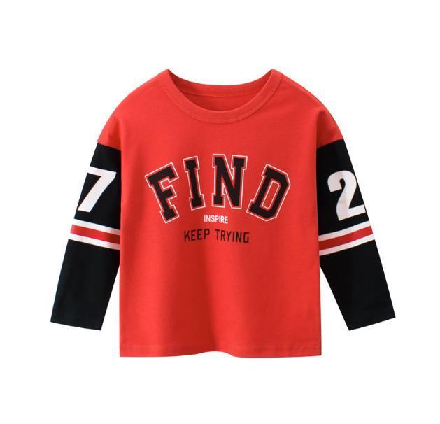2020 çocuk tasarımcı tişört oğlan uzun kollu yay elbise çocuk moda mektup yazdırma giyim yaz O-boyun üstleri
