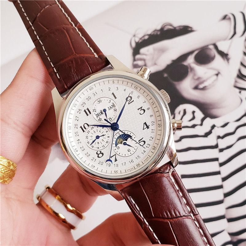 حركة عالية الجودة أزياء الرجال ووتش طويل كلاسيكي التصميم التلقائي الساعات الميكانيكية حزام جلد شفاف العودة دايل ساعة العمل