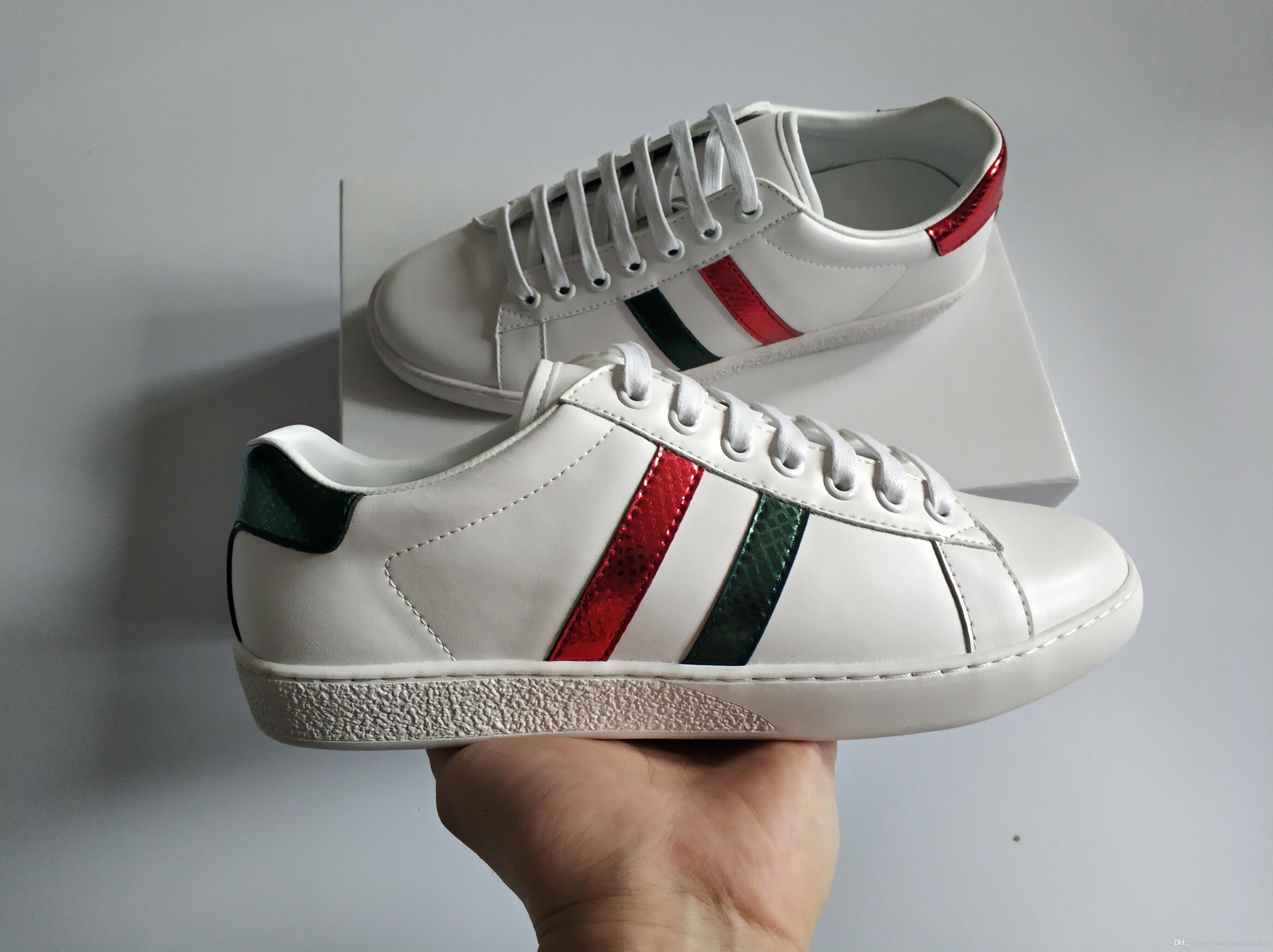 Оптовая продажа новые дизайнерские кроссовки для мужчин женщин натуральная кожа зеленый красный каблук полоса высокое качество низкий топ Повседневная обувь с коробкой размер 35-46