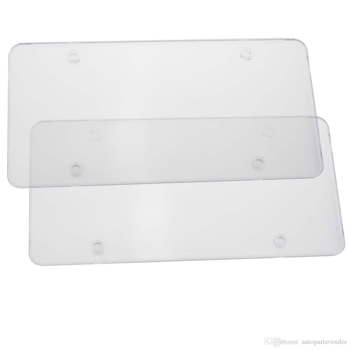 2x Clear Smoked License Plate Frames Cover Bug Shield Tag Protector Front Rear Plastic Licence Plate Frame Universal For Car Truck RV