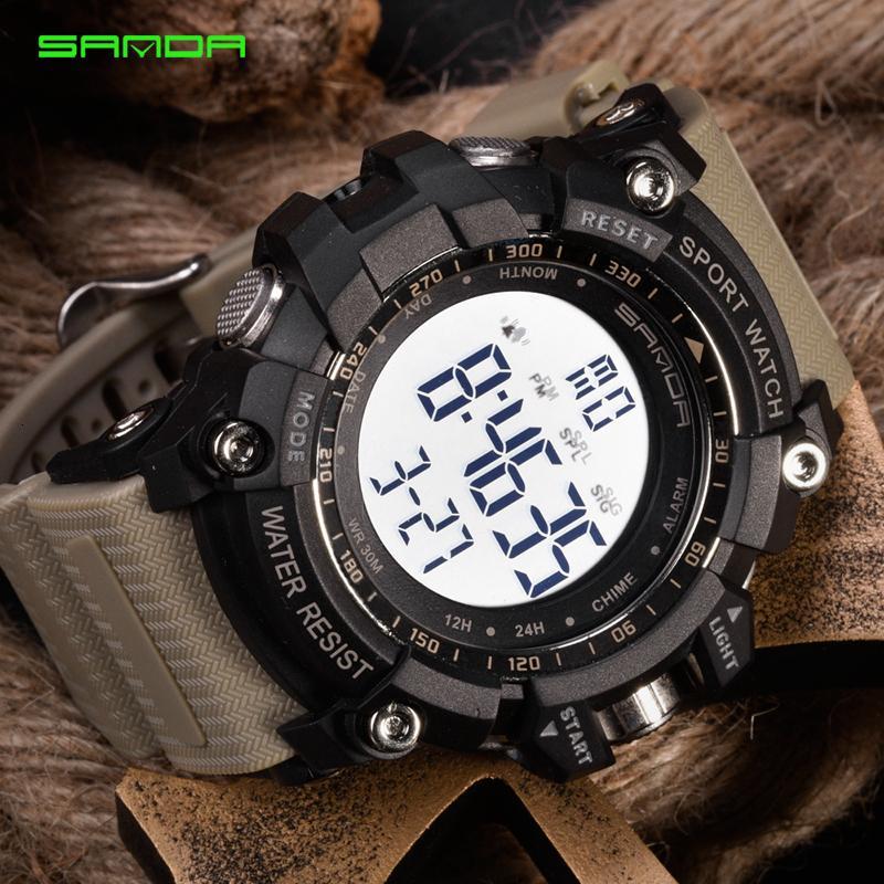 2019 SANDA digitale della vigilanza degli uomini di lusso della vigilanza di marca militare di modo degli uomini della vigilanza di sport Alarm Clock cronometro maschile Relogio Masculino V191115