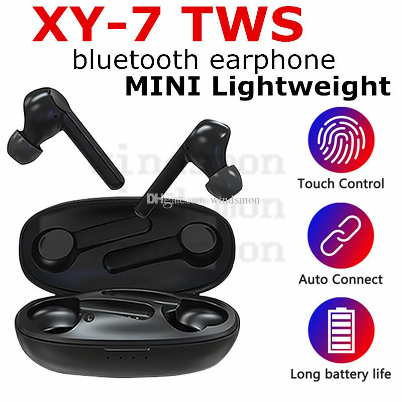 XY-7 TWS Wireless Bluetooth Earphones 5.0 Stereo Headset Handsfree Sports Earbuds Headphone With Charging Socket for Smartphones