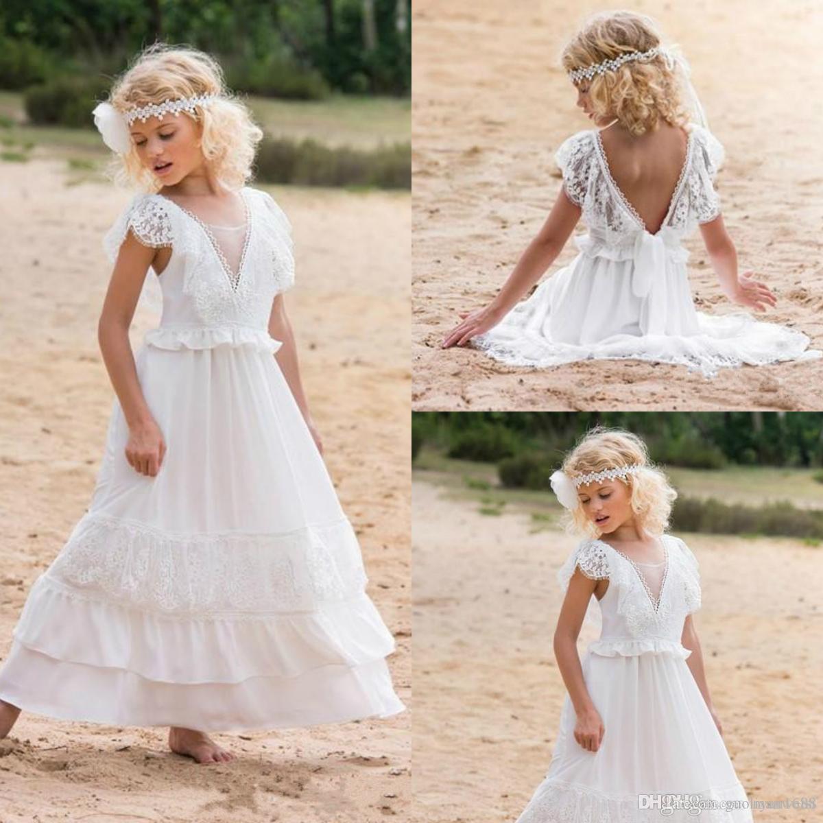 Sahil Düğün Yarışması Gowns A Hattı Boho Dantel V Yaka Çocuk ilk komünyon Dress858 için ucuz Bohemian Beyaz Çiçek Kız Elbise