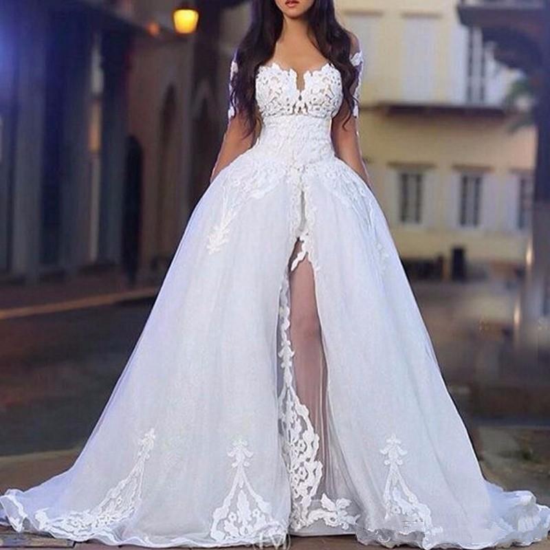 2020 arabe blanc élégant sur les robes de mariée épaule avec des robes de boules de mariage de mariée à manches longues à manches longues avec un train détachable