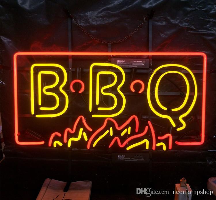 "17/""x14/""Smoked BBQ Neon Sign Light Restaurant Wall Hanging Real Glass Tube Art"