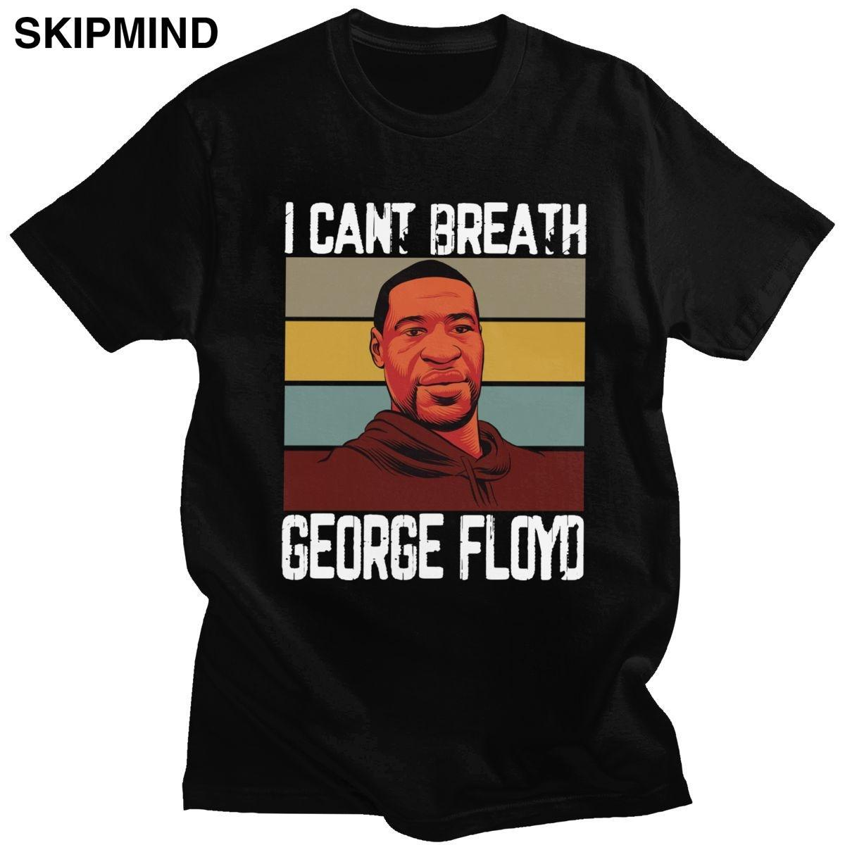 I Cant Breathe T shirt da uomo in cotone prelavato Citazione maglietta del O-collo manica corta George Floyd Tshirt Slim Fit Tee Top Abbigliamento