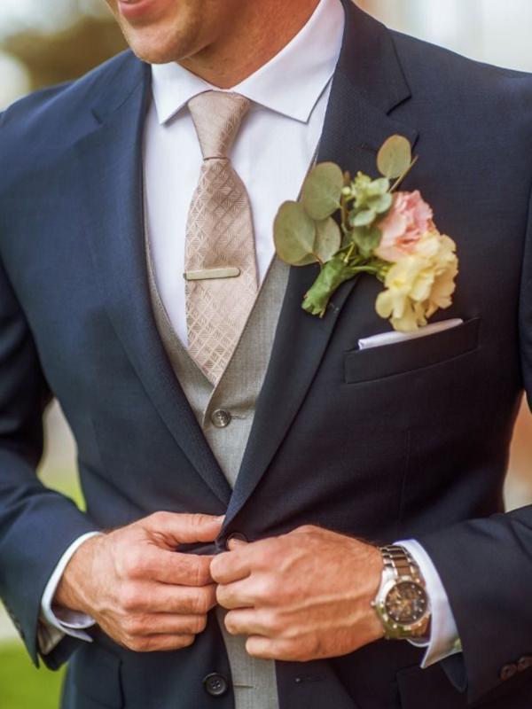 ANNIEBRITNEY 3 peça Azul marinho Slim Fit Homens Terno Formal personalizado magro do noivo do casamento do smoking Slim Fit Prom Men Wedding Suit Set