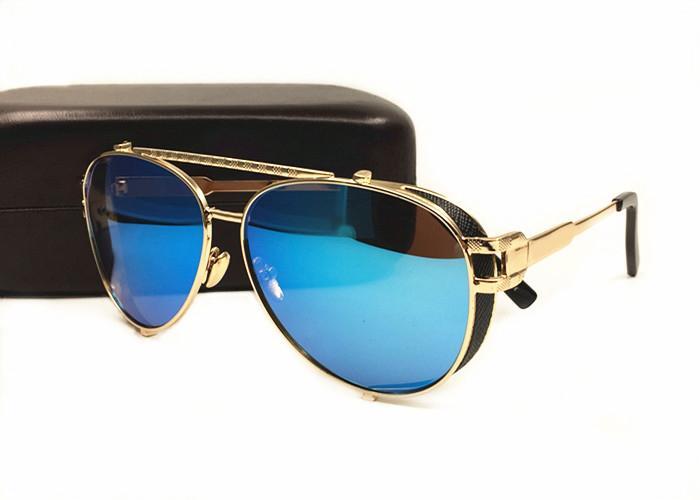 Gros-Hommes Femmes Marque Lunettes de soleil mode Protection UV lentilles miroir objectif personnalité Cadre Shades lunettes lunettes viennent avec la boîte