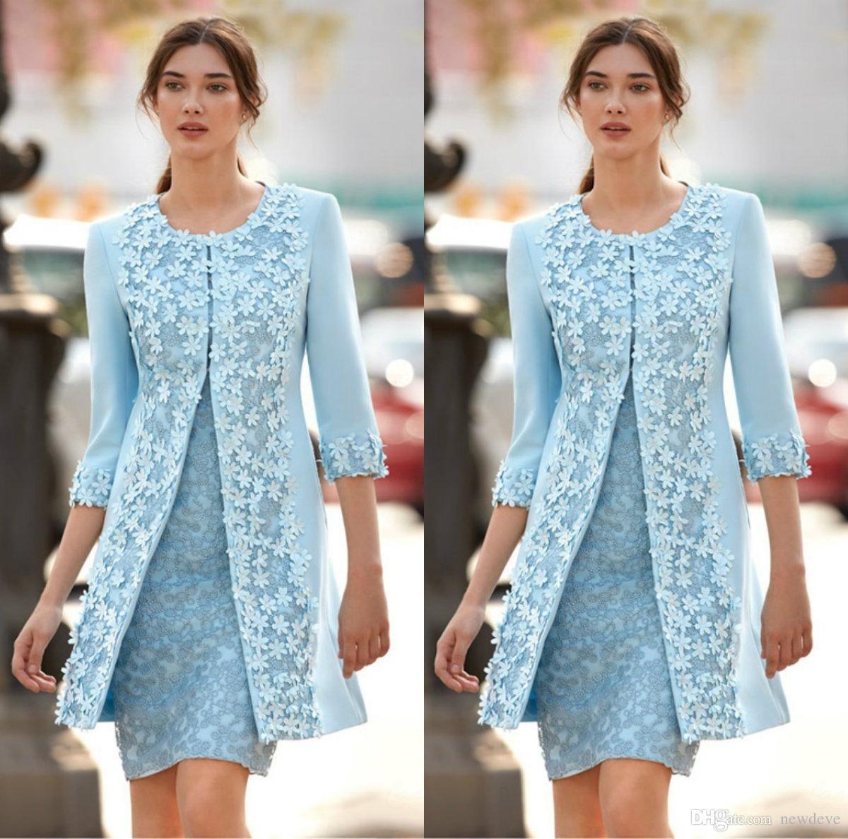 großhandel chic light blue brautmutter kleider mit jacke 3d applique jewel  3/4 Ärmel knielangen mutter kleid capped hochzeitsgast kleider von