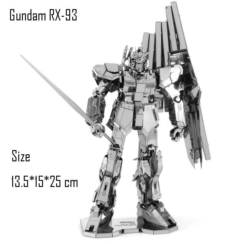 3D DIY Mech savaşçı Modeli birleştirin Oyuncak Gundam RX-93 Paslanmaz Çelik Gümüş Stereoskopik Metal Puzzle Fanlar Oyuncak Y200414 için