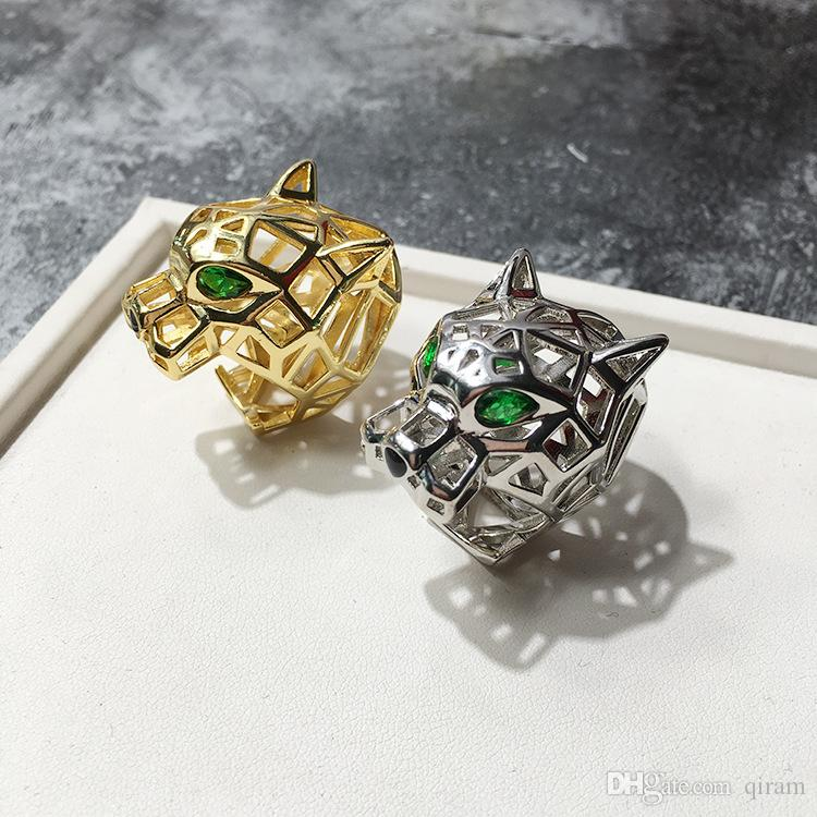Unique Leopard Series Ring For Women love rings men With Austrian Crystal Stellux Party Jewelry Hollow green eyed tiger leopard head