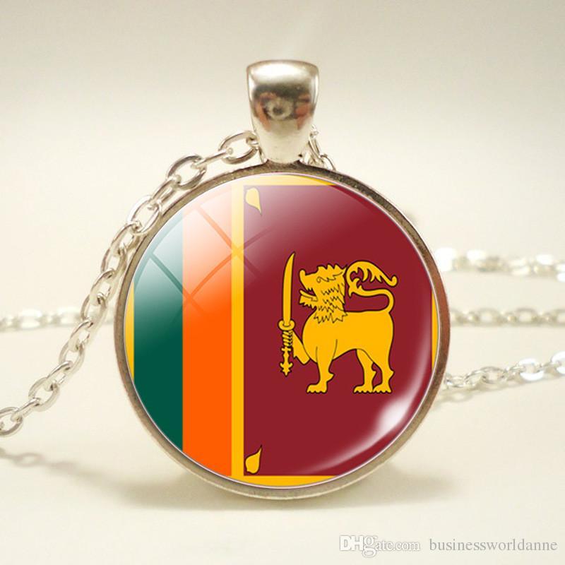 Hot Silver Sri Lanka National Flag World Time Gem Glass Dome Pendant Necklace For Women Men Elegant Long Chain Choker Jewelry Wholesale Gift