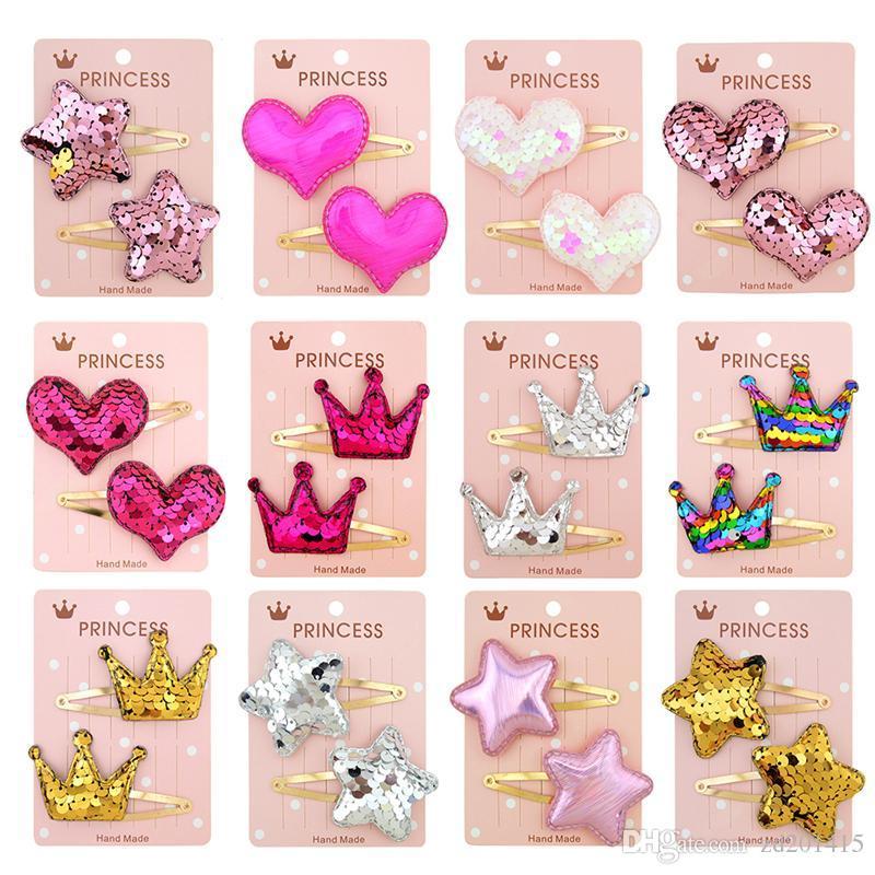 1 paio carino baby girl tacchini gradiente colore paillettes sequin a cinque punte stella amore clip per capelli per ragazze bambini morsetto per capelli accessori per capelli