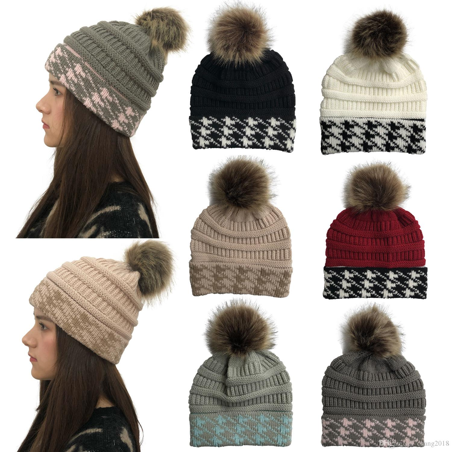 Winter Brand Female Ball Cap Pom Poms Winter Hat For Women Girl 'S Hat Knitted Beanies Cap Hat Thick Women'S Skullies Beanies fg040