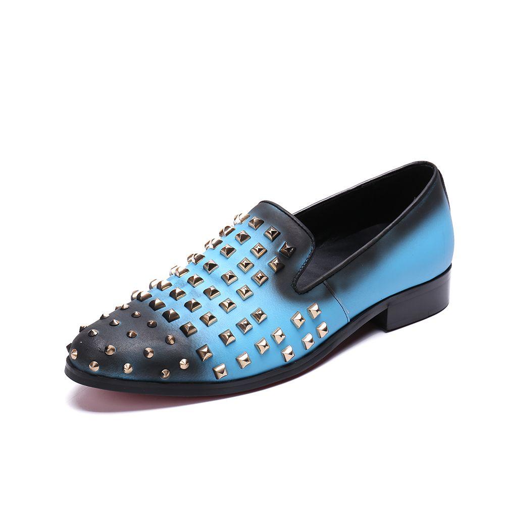 Mode Lässig Leder Männer Schuhe Luxus Designer Nieten Müßiggänger Mann zapatos de hombre Lila Leder Party Schuhe Männlichen