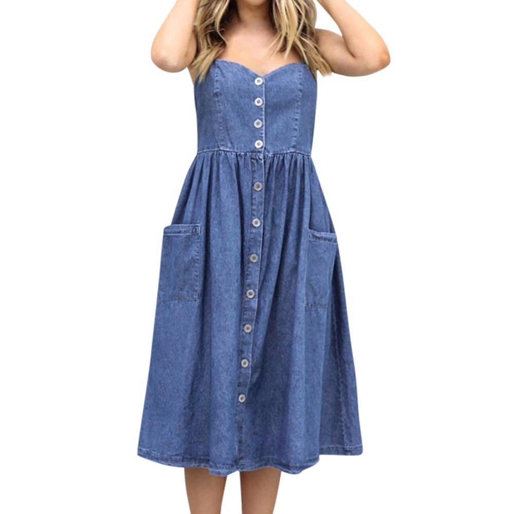 UK Women Holiday Strappy Dresses Pocket Ladies Summer Beach Midi Swing Sundress