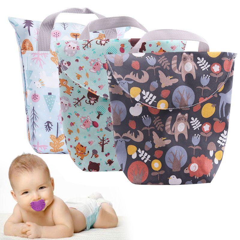 الرضع طفل رضيع فتاة حفاضات حقيبة التخزين للماء لطيف نمط طباعة حفاضات الطفل حقيبة الحفاظة الحقيبة قابلة لإعادة الاستخدام دروبشيبينغ كبير