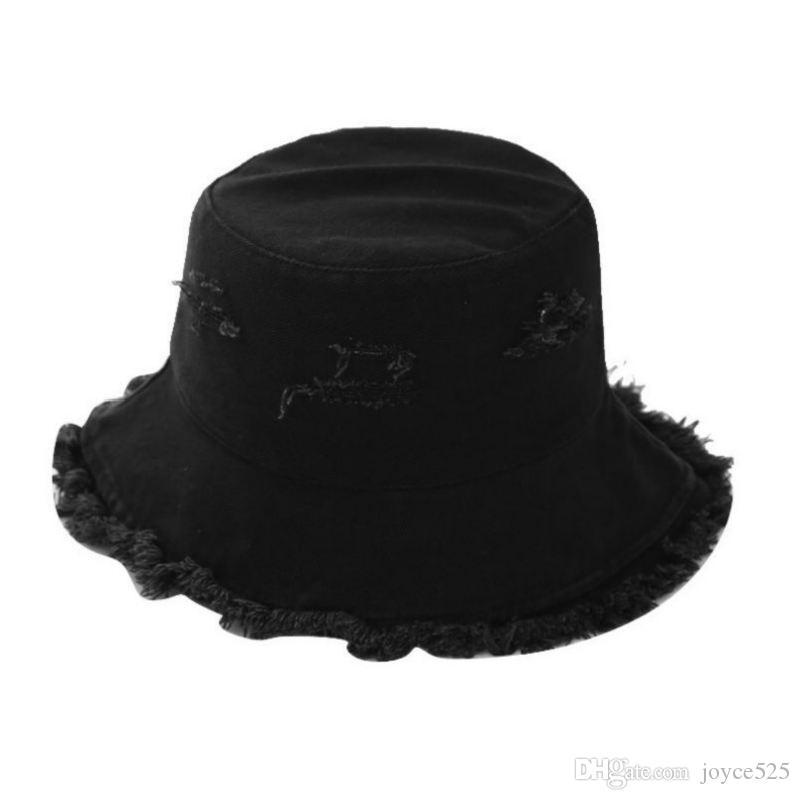 New Black white Cloches Female Burrs Bucket Hats Harajuku Bucket Hat Fishing Outdoor Panama Hip Hop Cap Summer For Fisherman Hat Women