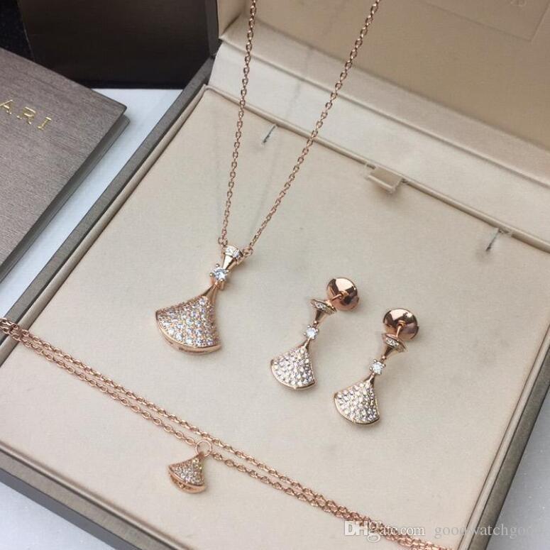 femmes bijoux boucles d'oreilles bracelet collier sous-plaquée or 18 carats en or rose / or blanc, 925 boucles d'oreilles en argent anti-allergie